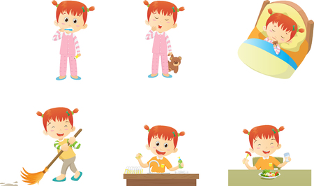 cleanliness: Cute little girl activities at home and sleep many action. Illustration