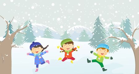 happy kids: happy kids playing outdoors in winter