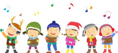 caroler: happy kids singing Christmas Carols