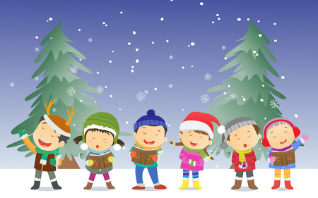 happy kids singing Christmas Carols