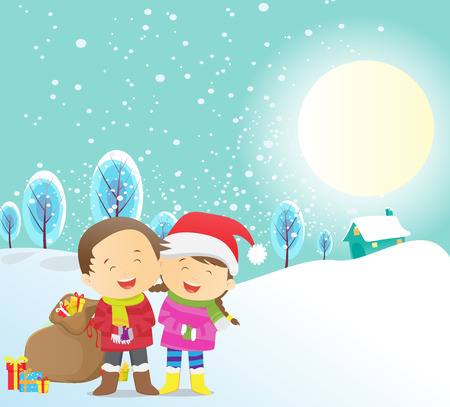 exhilaration: illustration of happy kids Christmas gift outdoors