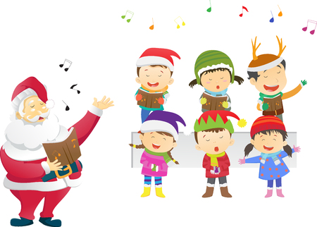 kids singing Christmas carols with santa Stock Illustratie