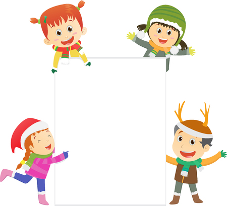 rolled up: Christmas kids with blank sign. Illustration