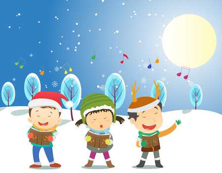 carols: Happy kids singing Christmas Carols