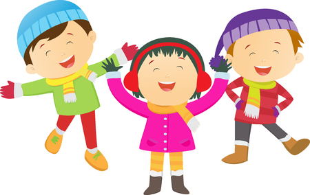 small world: Winter fun. happy kids wearing winter costume