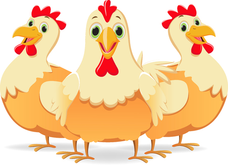 cute three cartoon hen