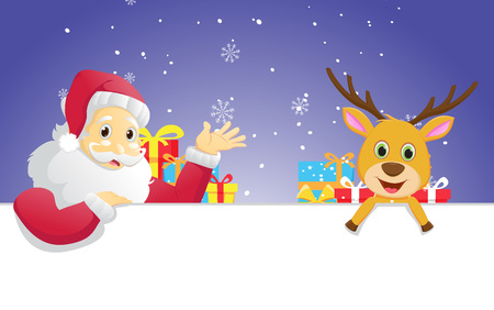 chrismas card: Christmas banner. Santa Claus and his reindeer. Illustration