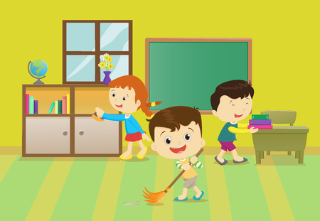 Illustration of kids cleaning the classroom Illustration