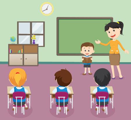 Ilustración del libro de lectura del muchacho de los estudiantes delante del aula. Ilustración de vector