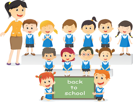 Portrait of teachers with their students. back to school concept Illustration