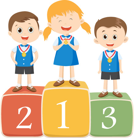 silver: happy children standing on the winner podium
