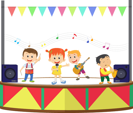illustration of a happy kids playing music on the stage Illustration