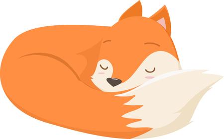 illustration of cute fox cartoon sleeping Illustration