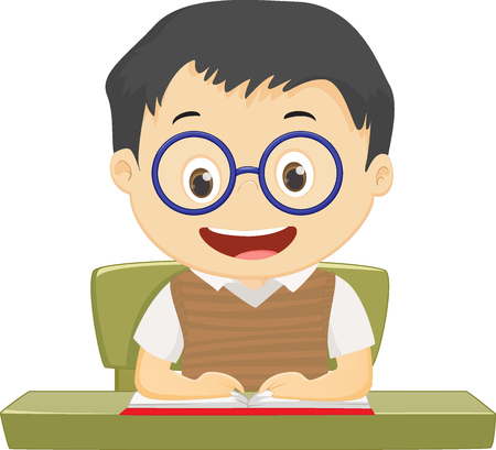 happy little boy with glasses reading book while sitting at the table Ilustração