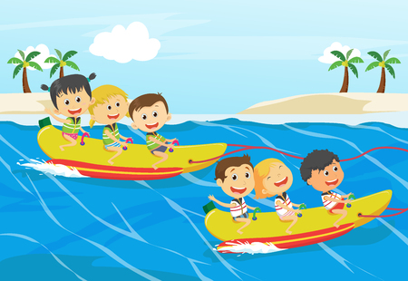 Children Having Fun On Banana Boat 向量圖像