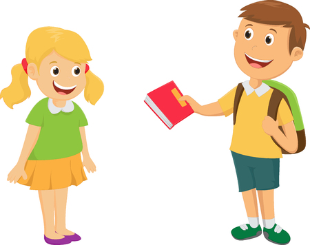 boy give a book to friend Illustration