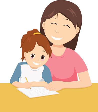 Mother teaching daughter to write