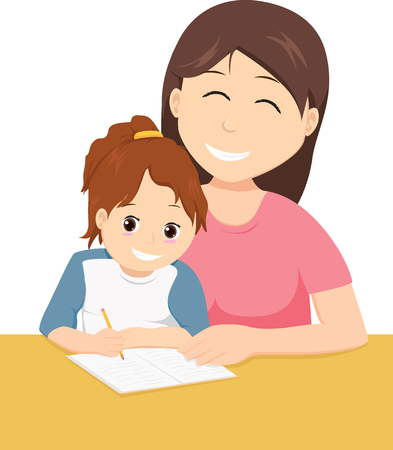 Mother teaching daughter to write