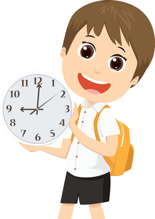 cute school boy with backpack showing clock