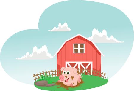 豚のイラストは泥の水たまりで遊ぶ。農家の生活