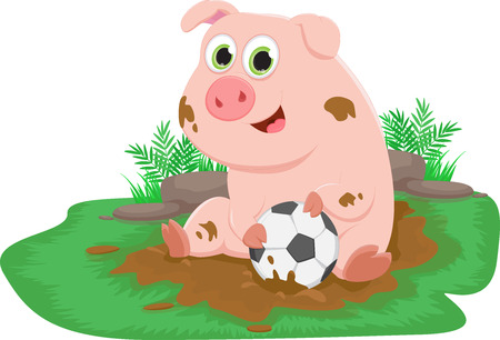 Cute pig playing with a ball in a mud puddle - Farm life Illustration