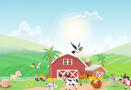 illustration of farm animal with background Imagens - 82975130