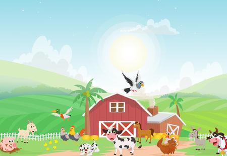 illustration of farm animal with background