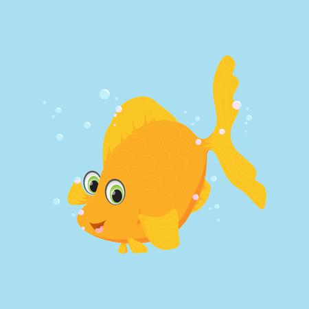 Cute golden fish cartoon. Vector illustration.