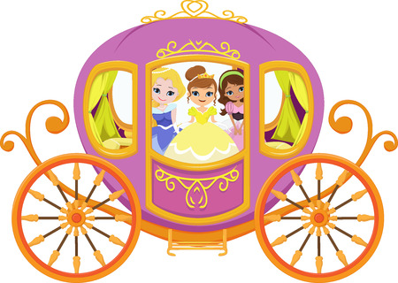 Happy princess with royal carriage