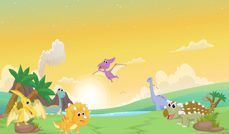 triceratops: Cute dinosaurs cartoon with prehistoric landscape