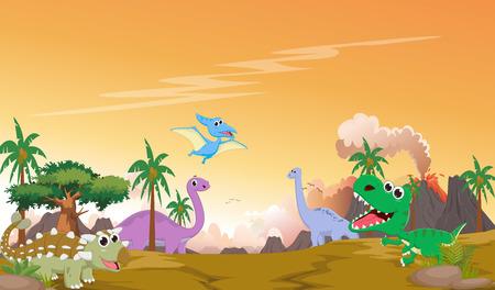先史時代の風景とかわいい恐竜漫画