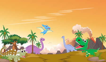 Cute dinosaurs cartoon with prehistoric landscape
