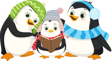Illustration of Cute Penguins Singing Christmas Carol Ilustrace
