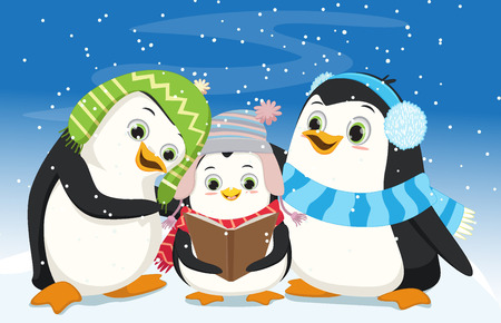 Illustration of Cute Penguins Singing Christmas Carol Illustration