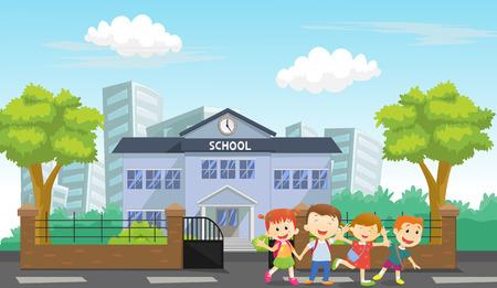 Happy children came home from school Ilustração