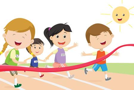 幸せな子供のスプリンターは、フィニッシュラインに最初に来る  イラスト・ベクター素材