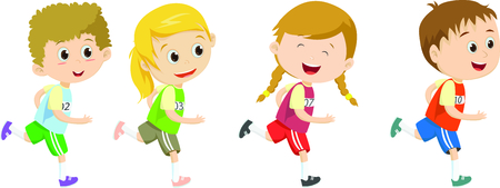 Happy kids running marathon together