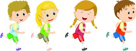 Happy kids running marathon together