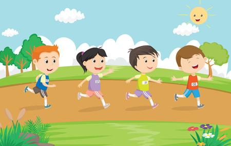 gelukkige kinderen lopen marathon samen in het park