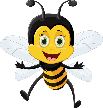 Bee cartoon flying  isolated on white background