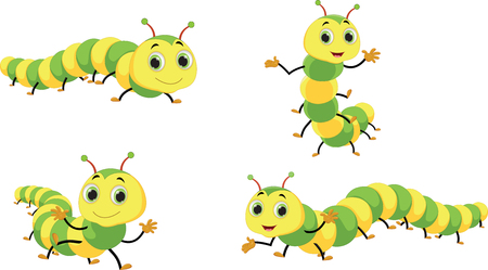Cute caterpillar cartoon Vector illustration on white background.