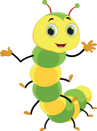 Cute caterpillar cartoon Vector illustration isolated on white background.
