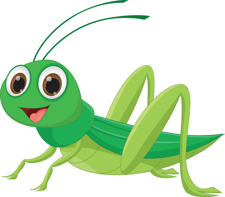 cute grasshopper cartoon 向量圖像