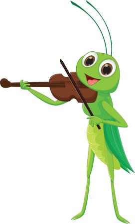 A cute grasshopper with a violin