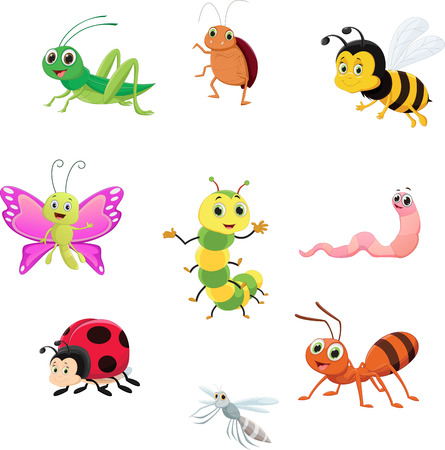 Cute insect collection set like ant, bee and grasshopper