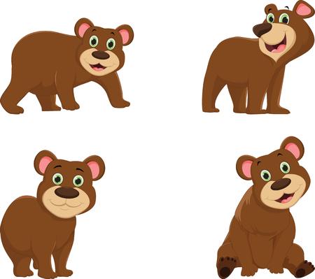 Collection of cute brown bear cartoon