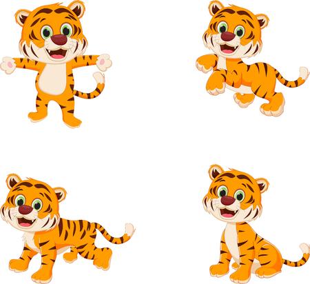 Collection of cute tiger cartoon Ilustração