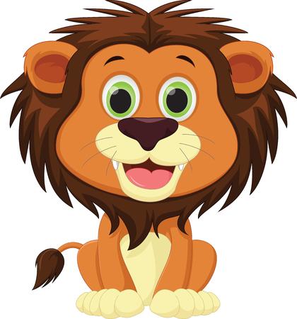 A cute lion cartoon isolated on plain background Ilustração