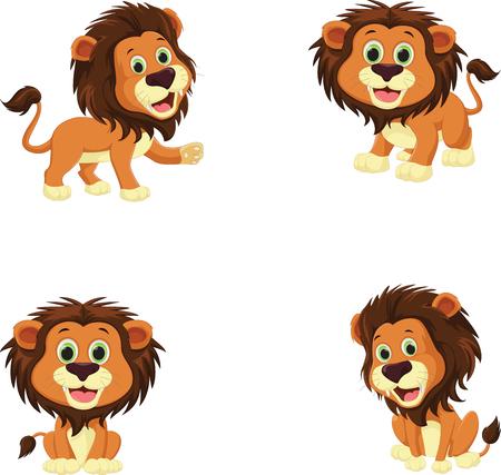 Collection of cute lion cartoon Illustration. Ilustração