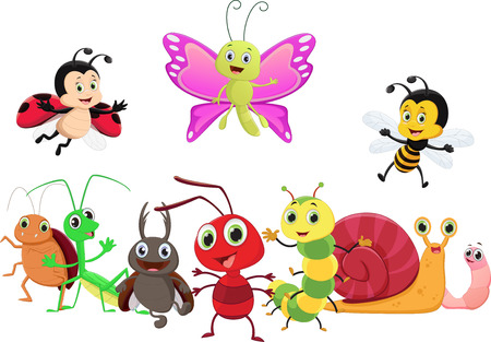 Illustration of happy insect cartoon isolated on white background.